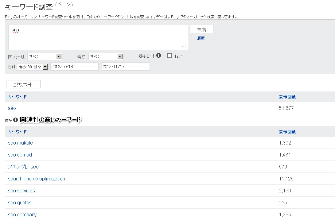 BingWebマスターツール「キーワード調査」画面